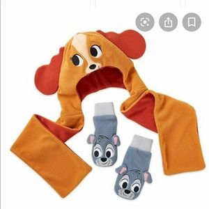 Disney mitten and hat with scarf set- toddler